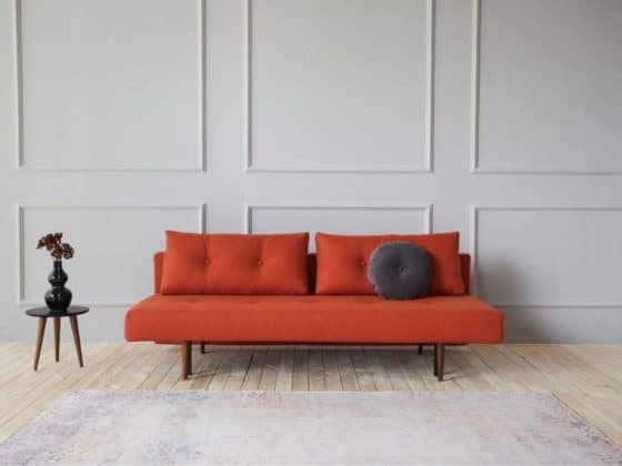Recast Double Sofa Bed with Dark Styletto Legs in 506 Elegance Paprika