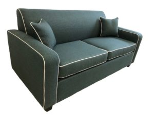 2.5 Seater Retro Sofa Bed in Wortley Shannon Teal fabric with white piping on white background
